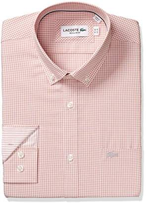 Lacoste Men's Long Sleeve with Pocket Poplin Mini Check Regular Fit Woven Shirt