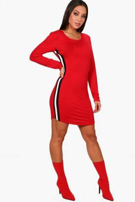 boohoo Sports Stripe Bodycon Dress