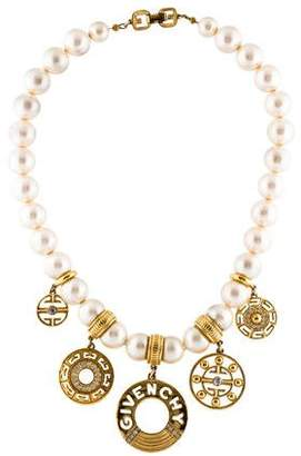 Givenchy Faux Pearl & Crystal Bead Strand Necklace