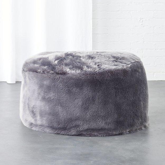 CB2Faux Fur Grey Pouf
