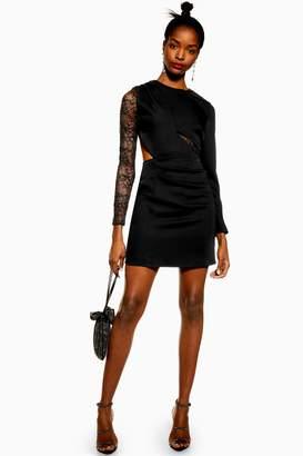 651f6d7814dc Topshop Womens Lace Insert Mini Dress - Black