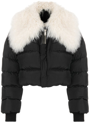 Unravel Project fur collar cropped quilted jacket