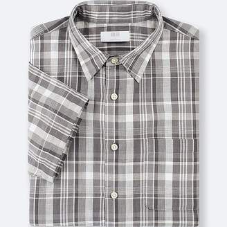 Uniqlo Men's Linen Cotton Checked Short-sleeve Shirt