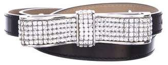 Swarovski Crystal-Embellished Leather Belt