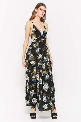 Forever 21 Tropical Print Tie-Back Maxi Dress