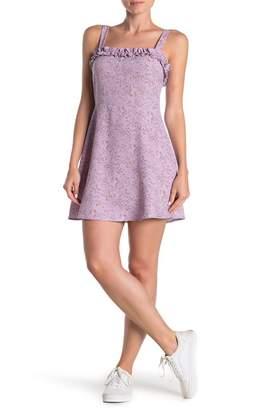 SWEET RAIN Floral Ruffled Sleeveless Skater Dress
