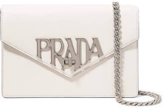 Prada Logo Liberty Leather Shoulder Bag - White
