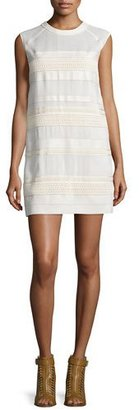 Belstaff Cap-Sleeve Lace Dress W/Leather Trim, Off White $995 thestylecure.com