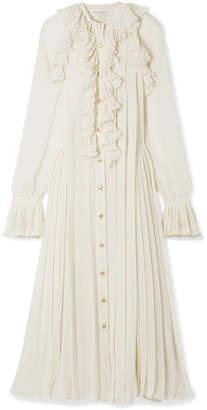 Philosophy di Lorenzo Serafini Ruffled Pleated Chiffon Maxi Dress - Cream