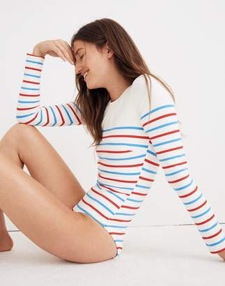 Madewell Solid & Striped Margot One-Piece Swimsuit in Breton Stripe