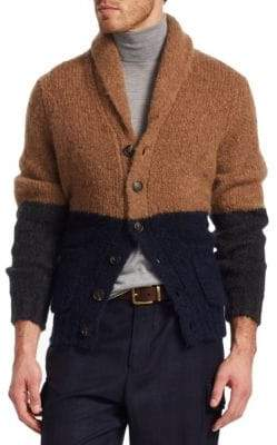 Brunello Cucinelli Wool-Blend Colorblock Cardigan