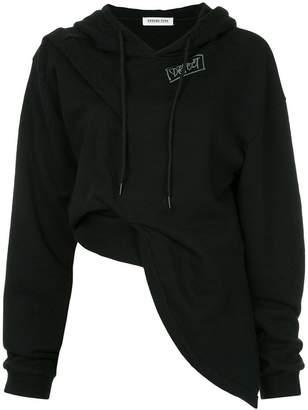 Ground Zero Defect slogan draped hoodie