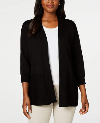 Karen Scott Cotton Open-Front Cardigan