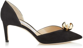 Jimmy Choo SABINE 65 Black Suede Pointy Toe Pumps with Oyster Bead Pearl
