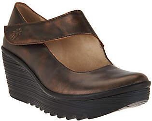 Fly London Leather Wedge Mary Janes - Yasi
