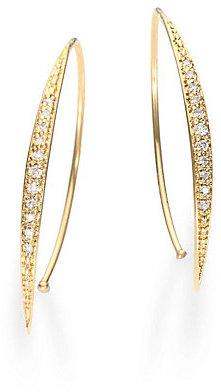 "Mizuki Diamond and 14K Yellow Gold Arc Hoop Earrings/1.2"""