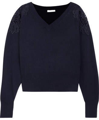 Chloé Merine Guipure Lace-trimmed Wool And Cashmere-blend Sweater - Navy