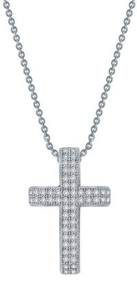 Lafonn Platinum Plated Sterling Silver Simulated Diamond Cross Pendant Necklace