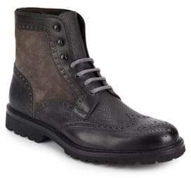 Magnanni Leather & Suede Wingtip Boots