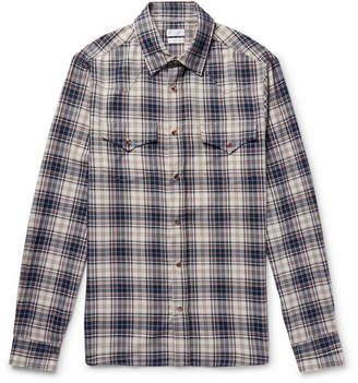 Brunello Cucinelli Checked Cotton Western Shirt - Storm blue