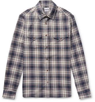 Brunello Cucinelli Checked Cotton Western Shirt - Men - Storm blue