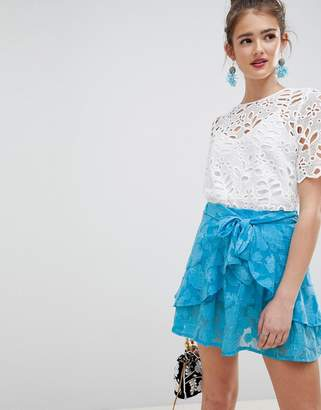Asos DESIGN frill mini skirt with tie waist in soft jacquard