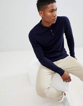 Jack and Jones Knitted Long Sleeved Polo Shirt