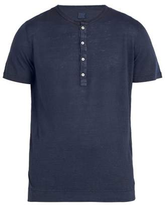 120% Lino Henley Linen T Shirt - Mens - Dark Navy