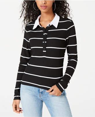 Self Esteem Juniors' Striped Ribbed Polo Top