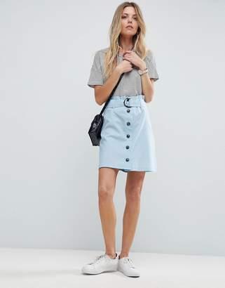 Asos DESIGN Tailored Linen Paperbag Mini Skirt