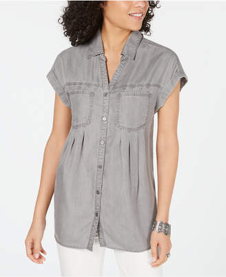 Style&Co. Style & Co Petite Pintucked Chambray Shirt