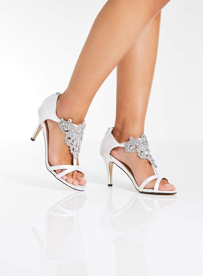 *Quiz White Satin 'Bridal' Sandals