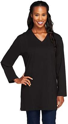 Denim & Co. Essentials Long Sleeve Oversized V-neck T-shirt