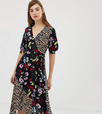 Reclaimed Vintage inspired wrap midaxi dress in mix floral tiger print