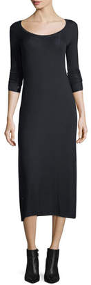 ATM Anthony Thomas Melillo Scoop-Neck Long-Sleeve Fitted Stretch-Knit Midi Dress
