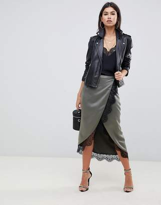 Asos Design Satin Wrap Midi Skirt With Lace Trim