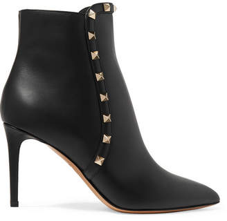 Valentino Garavani Studded Leather Ankle Boots - Black