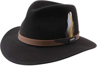 Stetson Hampton Wool Felt Fedora Hat Size L Brown-66
