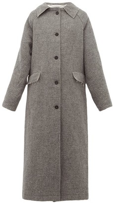 Kassl Editions - Raglan Sleeve Wool And Cotton Blend Coat - Womens - Grey