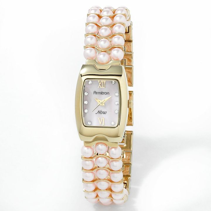 Mother of Pearl Armitron gold tone simulated pearl, crystal and mother-of-pearl watch - made with swarovski elements - 75/5043pmgpcr - women