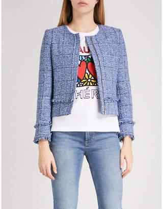 Claudie Pierlot Frayed tweed cropped jacket