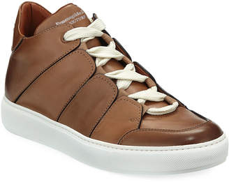 Ermenegildo Zegna Men's Tiziano Leather Low-Top Sneakers