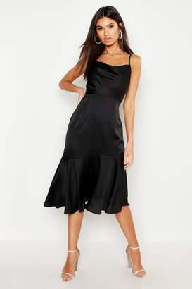 boohoo Satin Ruffle Hem Midi Dress