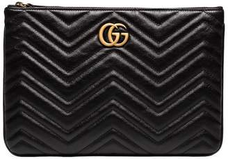 Gucci black chevron quilted leather GG clutch