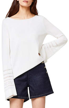 Esprit Pointelle Bell-Sleeved Sweater