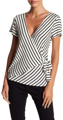 Socialite Short Sleeve Striped Wrap Top