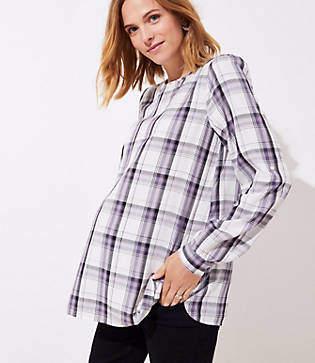 LOFT Maternity Plaid Tab Sleeve Blouse