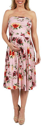 24/7 Comfort Apparel 24Seven Comfort Apparel Melina Floral Strapless Maternity Dress - Plus