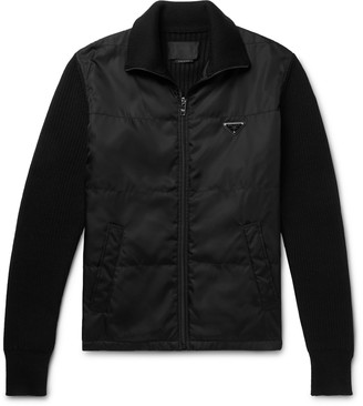 Prada Shell-Panelled Ribbed Wool Zip-Up Cardigan