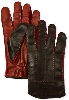 Etro Men's Colorblock Leather Gloves